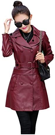 Buy and buy at Brandon Mid-Length Leather Women's Autumn Dress-Student Slim Slim Long Sleeves Two Leather Windbreaker Jacket WomenWine redL