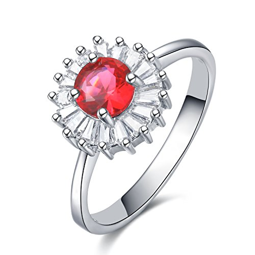 Goldminetrade GTR4608 S925 Silver CZ Stones Simulated Ruby Solitaire Ring Rhodium Plated #8 Main Stone 1 Carats