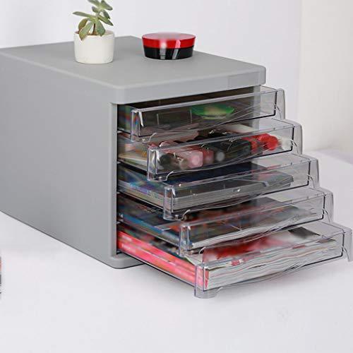 Office Organizer Desktop Storage Box, A4 Five Floors Desktop File cabinets Plastic Drawer Box Office Data Classification Box Multi-Layer-Gray