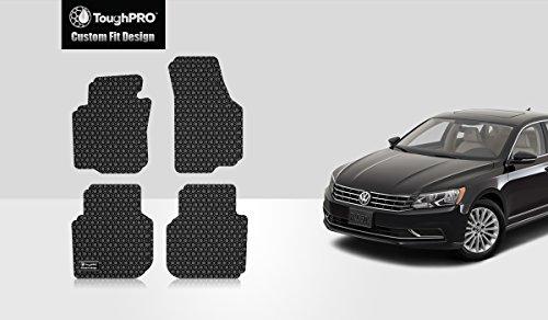 ToughPRO VW Volkswagen Passat Floor Mats Set - All Weather - Heavy Duty - Black Rubber - 2012-2018 (Black Mat Volkswagen Floor)