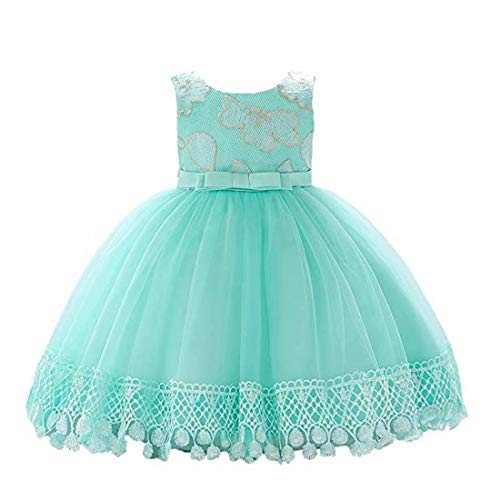 Mint Communion - kids Showtime Dress Princess Baby Girl Party Prom Communion Flower Gown (Mint,90)