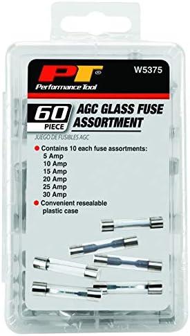 Performance Tool W5375 Surtido de fusibles de vidrio AGC de 60 piezas