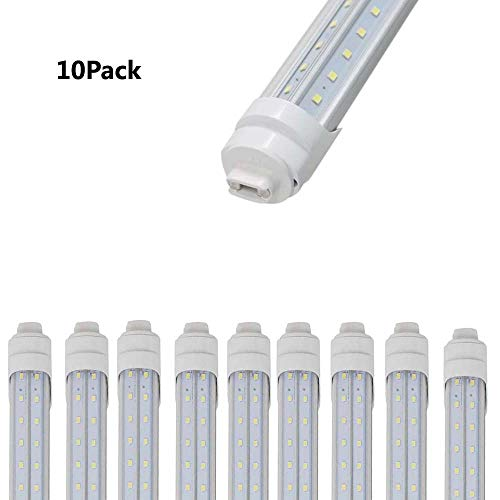 Weisenled LED Replacement for T8 T10 T12 F60HO Lamps. Dual End Powered, V-Shape, Clear Cover, R17D Socket, 45w,White Color 6500K,4800LM for Garage Warehouse,10Pack