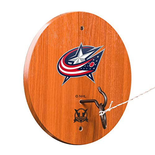 - Victory Tailgate NHL Hook & Ring Toss - All Wood Target with Rubbed Bronze Hook and Ring - Columbus Blue Jackets