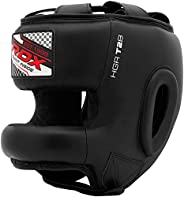 RDX Headgear Boxing, Sparring Grappling Head Guard with Nose Bar, Maya Hide Leather, Full Face Protection, MMA