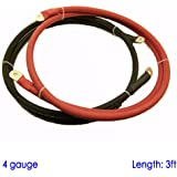 "Battery Cable with 3/8"" and 5/16"" Lugs for Power Inverter Converter Solar 12 Volt Bank (3ft, 4 AWG SGX)"