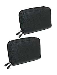 Buxton Women's Leather Mini Accordion Wizard Wallet (Pack of 2), Black