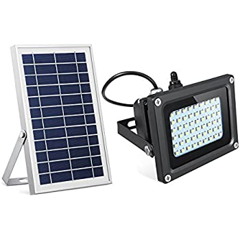 SEMILITS Solar Flood Lights 54 LED 500 Lumens 6W Solar Panel Outdoor Solar Light Waterproof Security Light for Garden Garage Lawn Pool Fencing Pathway