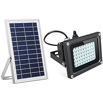 SEMILITS Solar Flood Lights 54 LED 500 Lumens 6W Solar Panel Outdoor Solar Light Waterproof Security Light for Garden Garage Lawn Pool Fencing Pathway