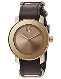 Movado Bold Rose Gold Dial Brown Leather Unisex Watch 3600364
