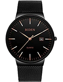 Watch, Mens Ultra Thin Watch Simple Fashion Luxury Wrist Watches Business Dress Casual Waterproof Quartz Watch with Stainless Steel Mesh Band