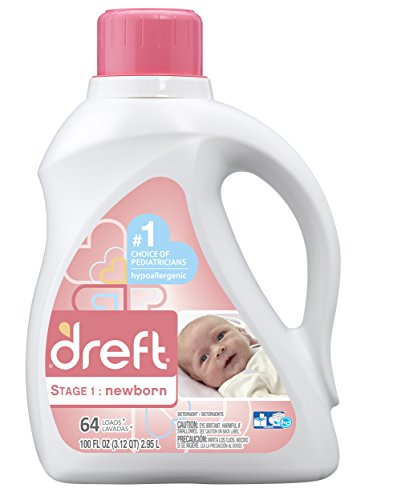 Dreft Stage 1: Newborn Hypoallergenic Liquid Baby Laundry Detergent (HE), Natural for Baby, Newborn, or Infant, 100 Ounces (64 loads) (Packaging May Vary)