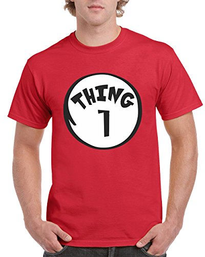 The Cat in the Hat Thing 1 Fashion Men's T-Shirts Round NeckTee Shirts for Men(Red,X-Large) (Cat In The Hat Thing 1)