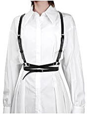 Punk Waist Belt Women Halloween PU Leather Skinny Body Adjustable Belts with Gothic Circle for Party