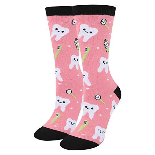 sockfun Novelty Teeth Socks, Funny Cute Pink Socks Funky Cartoon Patterned Cotton Fun Crew Socks For Women, Pink Teeth, one size / medium