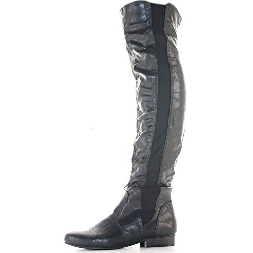 30 Flat Style High Biker Low Knee Heel Leather Calf Black Over Style Leg Size Winter Boots Ladies 6qOdR6