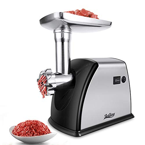 Betitay Electric Meat Grinder Mincer,1800W Max Stainless Steel Sausage Maker Stuffer,Food Processor Machine with Cutting Blade & Plates,Sausage & Kibbe Attachment