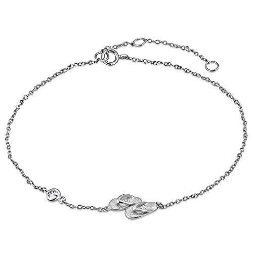 925 Sterling Silver Bezel-Set White Clear CZ Flip-Flops Slippers Anklet Bracelet