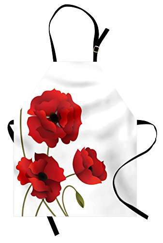 Mother Earth Costume Ideas (Ambesonne Floral Apron, Poppy Flowers Vivid Petals with Buds Pastoral Purity Mother Earth Nature Design, Unisex Kitchen Bib with Adjustable Neck for Cooking Gardening, Adult Size, Red)