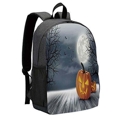 Halloween Durable Backpack,Cold Foggy Night Dramatic Full Moon Pumpkins on Wood Board Trees Print for School Travel,12