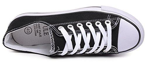 Odema Donna Uomo Stringate Scarpe Di Tela Moda Sneakers Classico Casual Scarpe Stile Preppy Piatto Nero