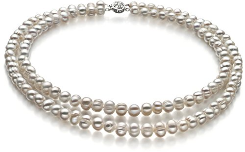 Julienne White 6-7mm Double Strand A Quality Freshwater Cultured Pearl Necklace for Women-16 in Chocker Length