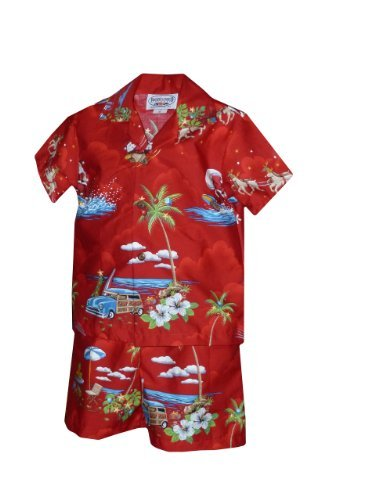 Pacific Legend Boys Santa's Xmas Hawaiian Vacation 2pc Set Red 4T for 3yrs old
