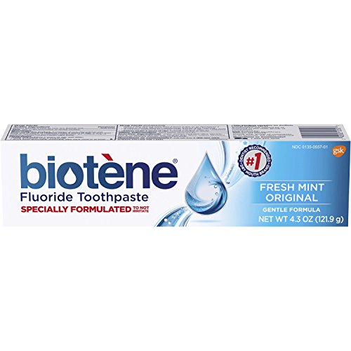 - Biotene Fresh Mint Original Fluoride Toothpaste, 4.3 ounce