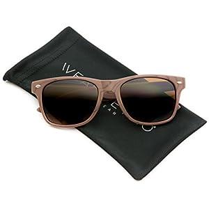 Faux Wood Reflective Revo Color Lens Horn Rimmed Sunglasses (Dark Wood Print, 51)