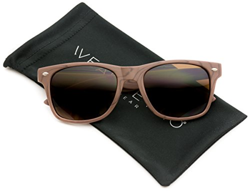 Faux Wood Reflective Revo Color Lens Horn Rimmed Sunglasses (Dark Wood Print, - Woodgrain Sunglasses
