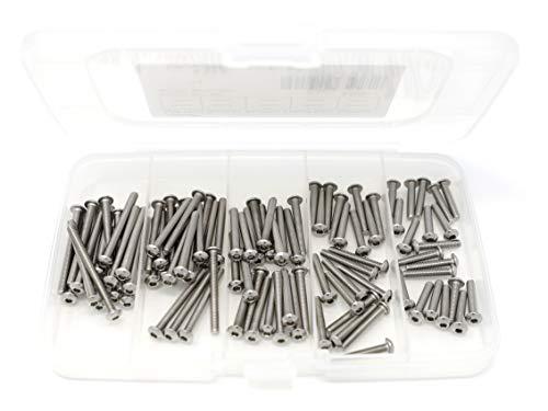 iExcell 100 Pcs M3 x 16mm/20mm/25mm/30mm/35mm Stainless Steel 304 Hex Socket Button Head Cap Screws Kit