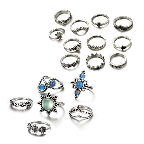Gudukt Knuckle Ring Set Vintage Big Opal Star Crystal Pearls Boho Stackable Rings for Women