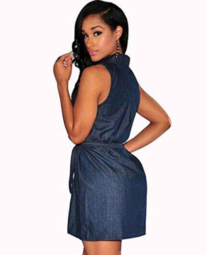 Casual Colygamala Deep Attached Denim Dress Belt Denim Mini w Shirt Sleeveless Blue Sexy neck Dress Women's V zZrZO