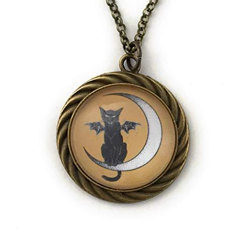 Bat Cat Necklace Halloween Jewelry Handmade]()