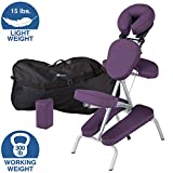 EARTHLITE Portable Massage Chair Package VORTEX - Portable, Compact, Strong and Lightweight incl. Carry Case, Sternum Pad & Strap (15lbs), Amethyst