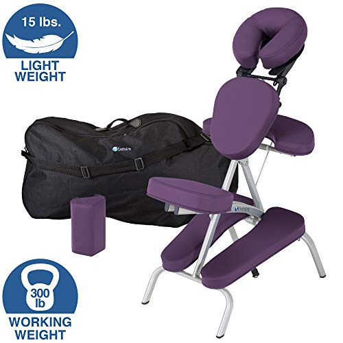 EARTHLITE Portable Massage Chair Package VORTEX - Portable, Compact, Strong and Lightweight incl. Carry Case, Sternum Pad & Strap - Massage Experience Package