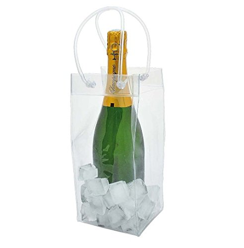 4 Pack PVC Transparent Wine Ice Bag Portable Wine Cooler Bag Carrier