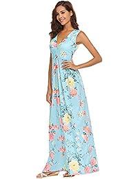 Women's Summer Floral Printed V Neck Sleeveless Maxi...