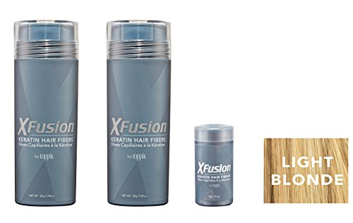 Xfusion Keratin Hair Fibers,Two Pack Value 2 x 28 gr / 0.98 oz LIGHT BLONDE/FREE Refillable 3 gr Travel Size Fibers ($8.00 Value) … by XFusion (Image #1)