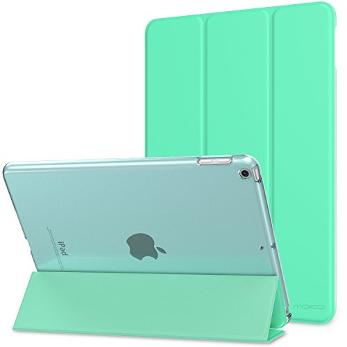 MoKo Case Fit iPad 9.7 5th/6th Generation - Slim Lightweight Smart Shell Stand Cover with Translucent Frosted Back Protector Fit Apple iPad 9.7 Inch 2018/2017, Mint Green (Auto Wake/Sleep)