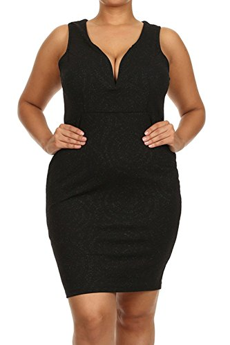 (Plus Size) Lurex Body Con Plunging Sweetheart Neck Tank Midi Dress (MADE IN U.S.A) (Sweetheart Tank Neck)
