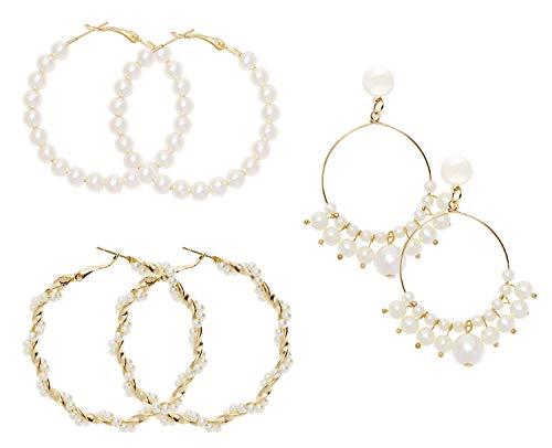 PENTA ANGEL 3 Pairs Big Hoop Earrings Gold Plated Faux Pearl Circle Dangle Earrings Geometric Round Drop Hoops for Women Girls