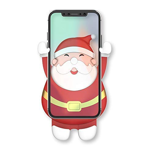 (E-SYB Gravity Car Phone Vent Mount, Christmas Cute Santa Claus Auto Clamping Cell Phone Holder Clip for Car Air Vent, Car Cradle for Xmas Gifts Presents Red Cartoon Decoration Hands-Free (SantaClaus))