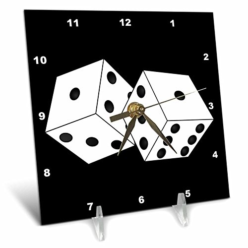 3dRose dc_39696_1 Black & White Die Dice with Black Background Desk Clock, 6 by 6""