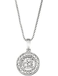 Sterling Silver White Diamond Solitaire Look Necklace Pendant