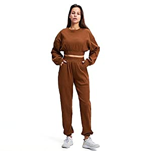 Aoxjox Sweat Suits for Women Set 2 piece Outfit Ribbed Cropped Oversized Sweatshirt with Full Length Cuffed Joggers