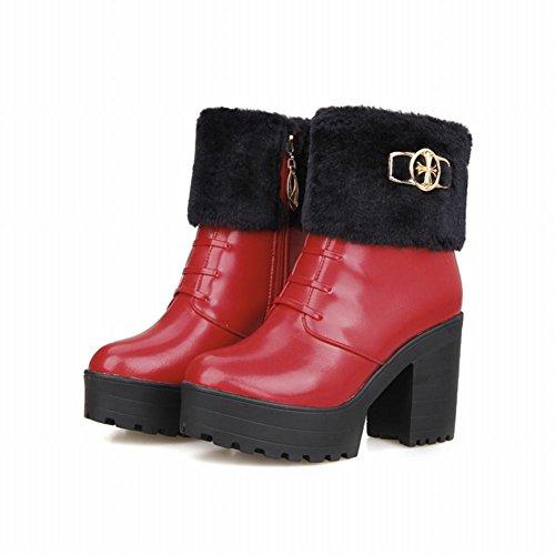 Carolbar Womens Moda Cerniera Faux Pelliccia Caldo Carino Inverno Piattaforma Alti Stivali Da Neve Tacco Grosso Rosso