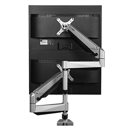 Loctek D7SD Dual Monitor Mount, Dual Stacking Arm, Desk Clamp/Grommet Base Use 2 Lcds, Holds up to 27