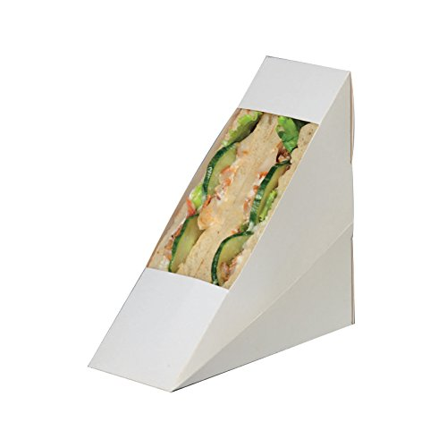 PacknWood Cardboard Paper Sandwich Wedge Box with Window, 4.84'' x 2.05'' x 4.84'', White (Case of 500)