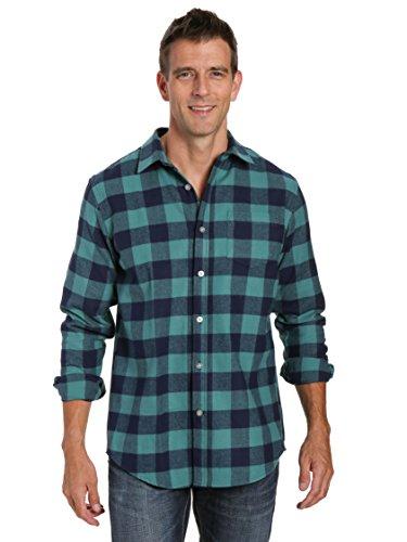 (Noble Mount Mens 100% Cotton Flannel Shirt - Gingham Checks - Blue-Green- L)